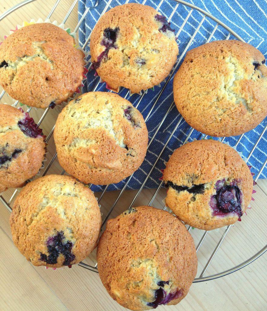blåbærmuffins med banan